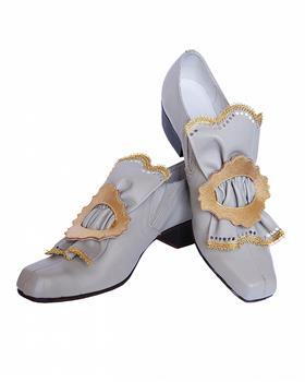 Theatrical shoes  decorated with a buckle and a leather bow.